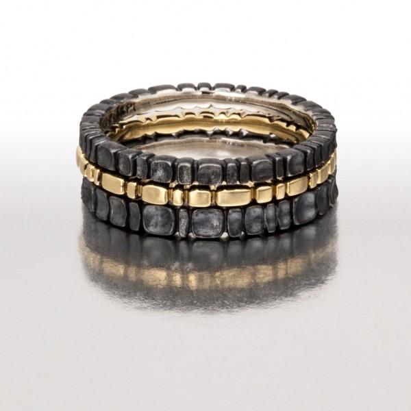 Black & Gold 3pc. Ring Stack I