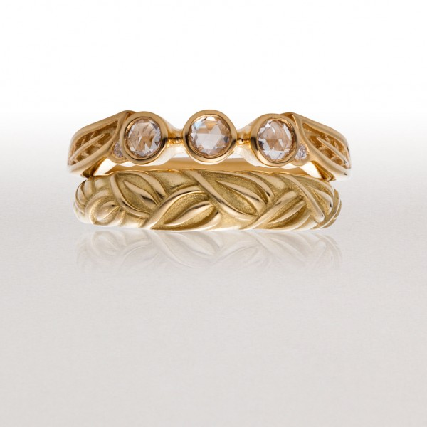 3 Stone LEAF Ring Set with Thin LEAF Band