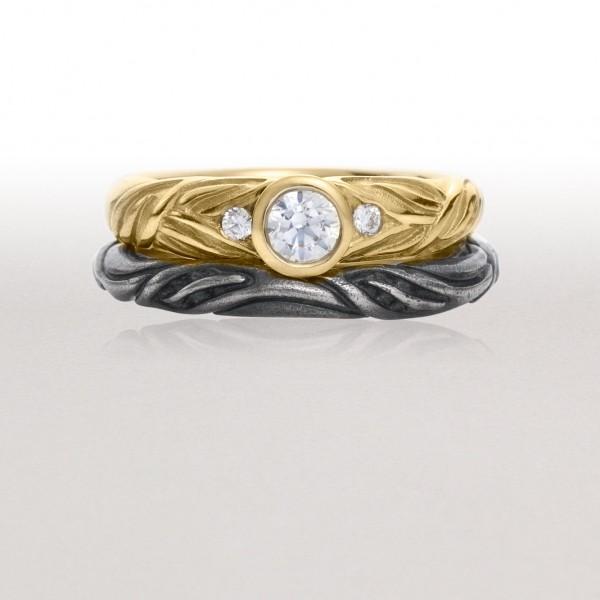 Gold ALTERNATING LEAF Ring with Thin Black LEAF CIRCLET Ring