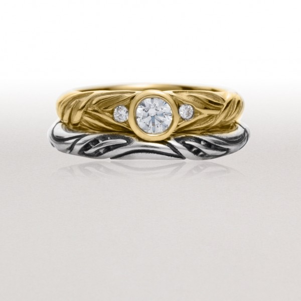 Gold Alternating Leaf Ring with Bright Silver Thin Leaf Circlet Ring