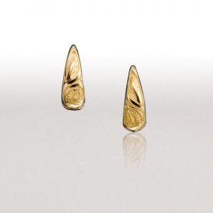 Small Gold LEAF Huggie Earrings