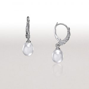 LEAF White Pearl Hoop Earrings