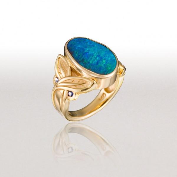 Large CROSSED LEAF Ring with Boulder Opal & Sapphires