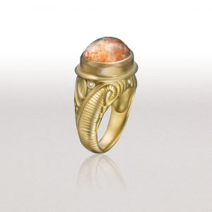 FERN Ring with African Sunstone & Diamonds