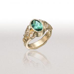 LEAF & FERN Ring with Tourmaline & Diamonds
