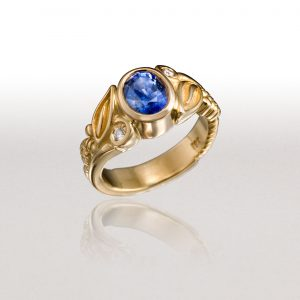 LEAF & FERN Ring with Blue Sapphire & Diamonds