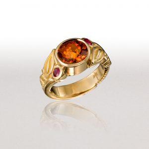 LEAF & FERN Ring with Spessartite Garnet & Spinels