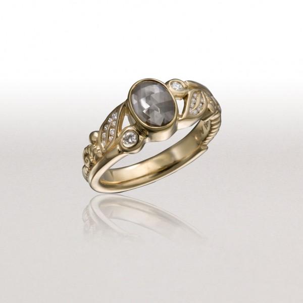 Small LEAF & FERN Ring with Grey Diamond