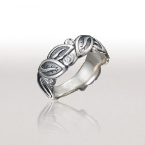 Medium LEAF Band with Platinum-enhanced Sterling & Diamonds