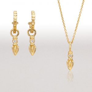 Gold Earring and Gold Pendant Ensemble