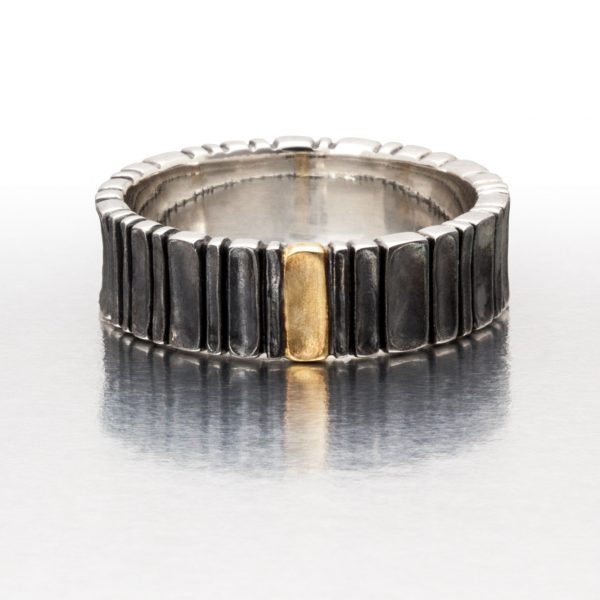 Wide DEEP SCOOPS Ring / Black and Gold