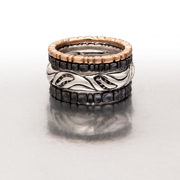 Pink, Black & Silver 4-pc Ring Stack I