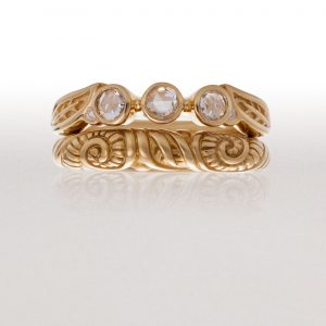 3 Stone LEAF Ring Set with Small LEAF & FERN Band