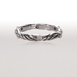 Thin LEAF CIRCLET Ring in Bright Silver & Diamonds