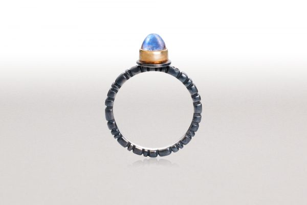 Medium PAVERS Ring in Black & Gold with Blue Moonstone