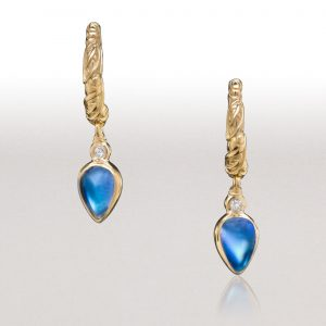 LEAF Moonstone Hoop Earrings
