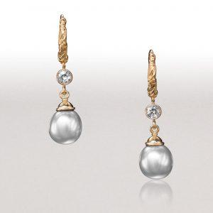 LEAF Grey Pearl Hoop Earrings