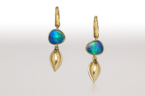 LEAF Boulder Opal Hoop Earrings