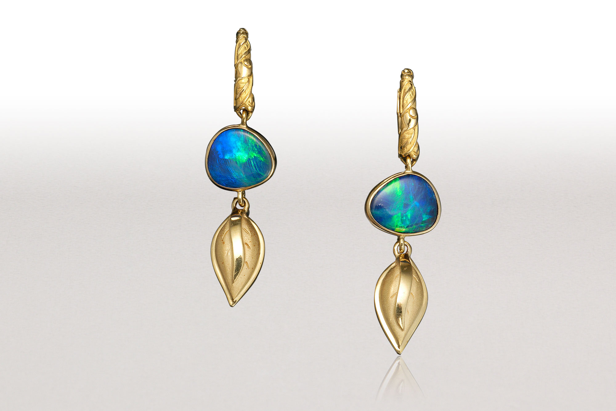 LEAF Boulder Opal Hoop Earrings