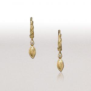 Small Leaves & Diamond LEAF Hoop Earrings