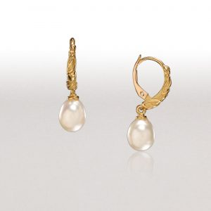 White Pearl LEAF Hoop Earrings