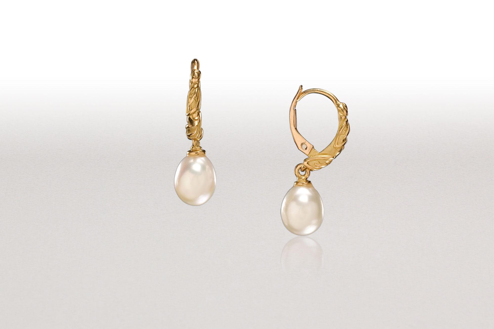 White Pearl LEAF Hoop Earrings