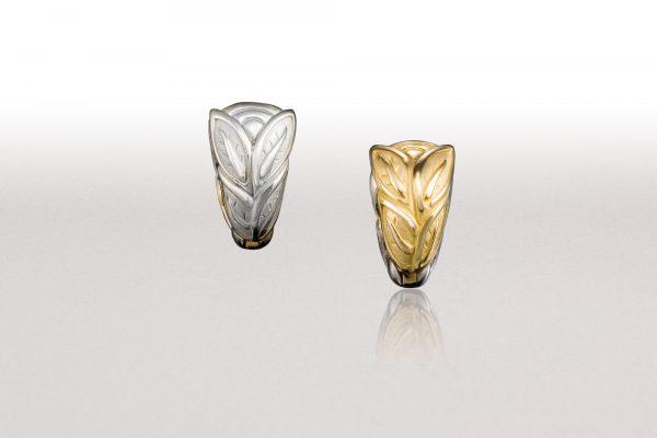 Reversible Yellow & White Gold LEAF Huggie Earrings