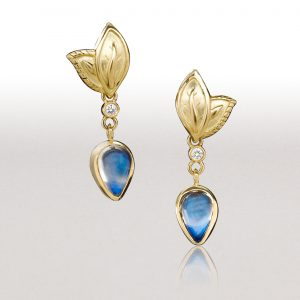 Small DOUBLE LEAF Blue Moonstone Earrings
