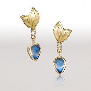 Small DOUBLE LEAF Blue Moonstone Earrings