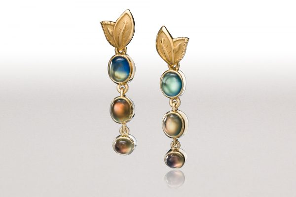 Small DOUBLE LEAF Rainbow Moonstone Earrings