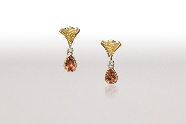 Cognac Tourmaline LEAF WEDGE Earrings