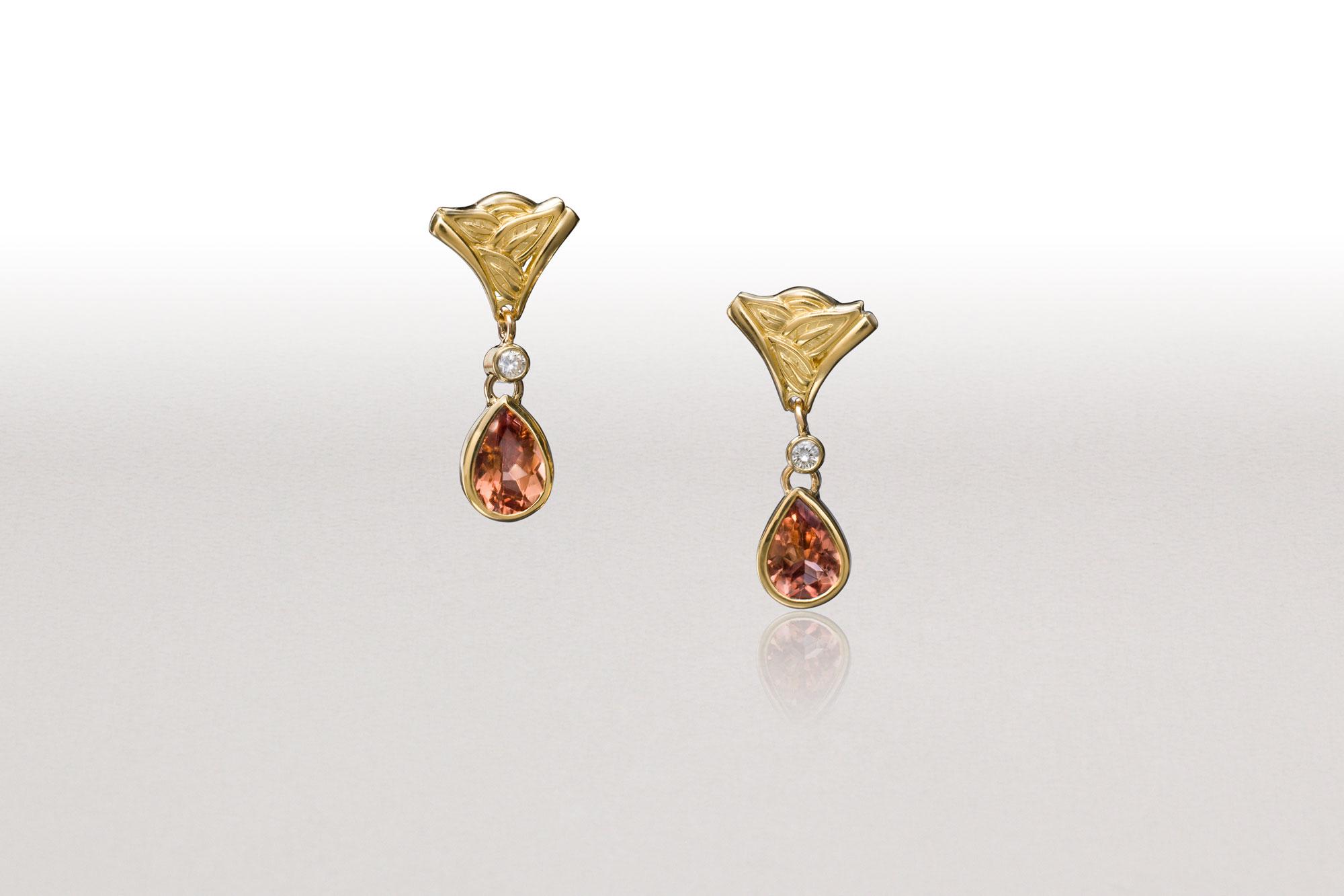 Cognac Tourmaline LEAF WEDGE Earrings