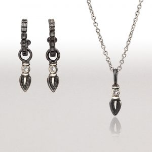 Black & Silver Earring and Pendant Ensemble