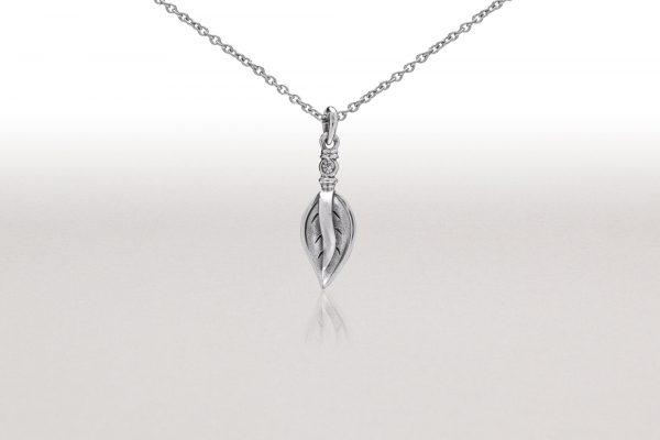 LEAF & White Sapphire Pendant I
