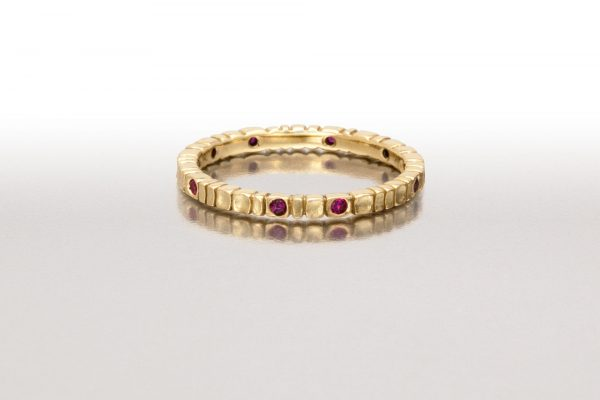 Thin DEEP SCOOPS Ring in Gold & Rubies