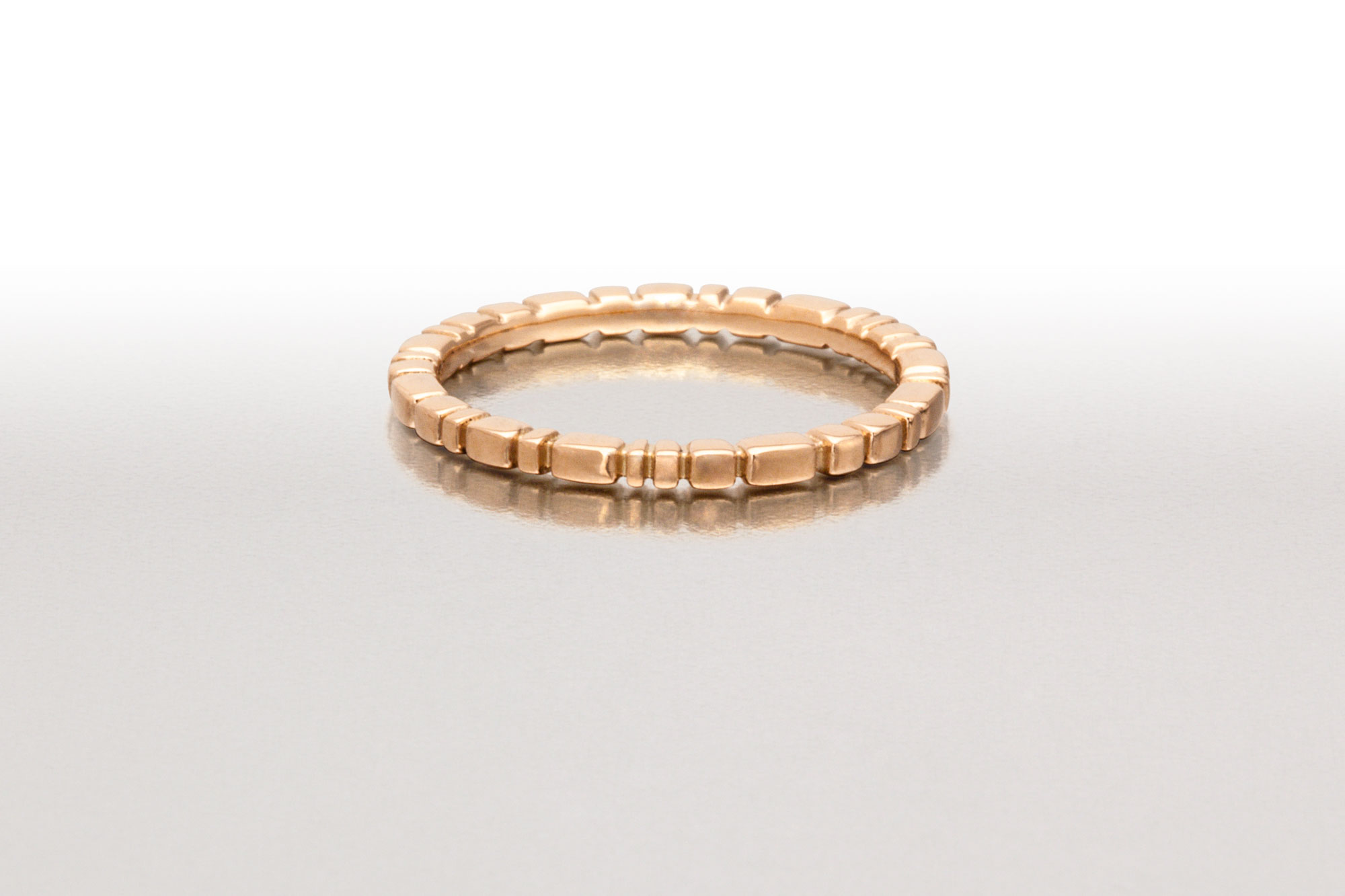 Skinny PAVERS Ring in Pink Gold