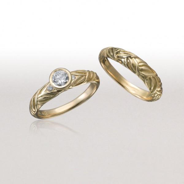 Thin ALTERNATING LEAF Ring with Thin LEAF Band-Gold