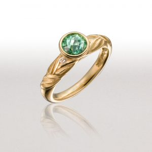 Thin ALTERNATING LEAF Ring with Tourmaline & Diamonds