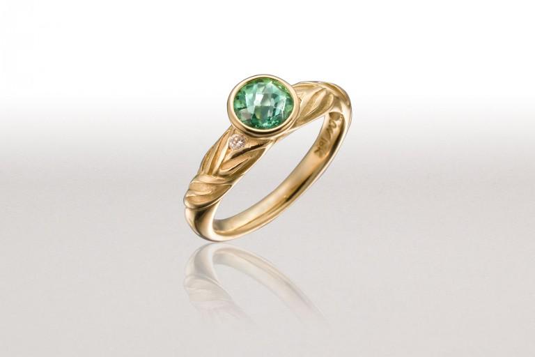 Thin ALTERNATING LEAF Ring with Tourmaline & Diamonds