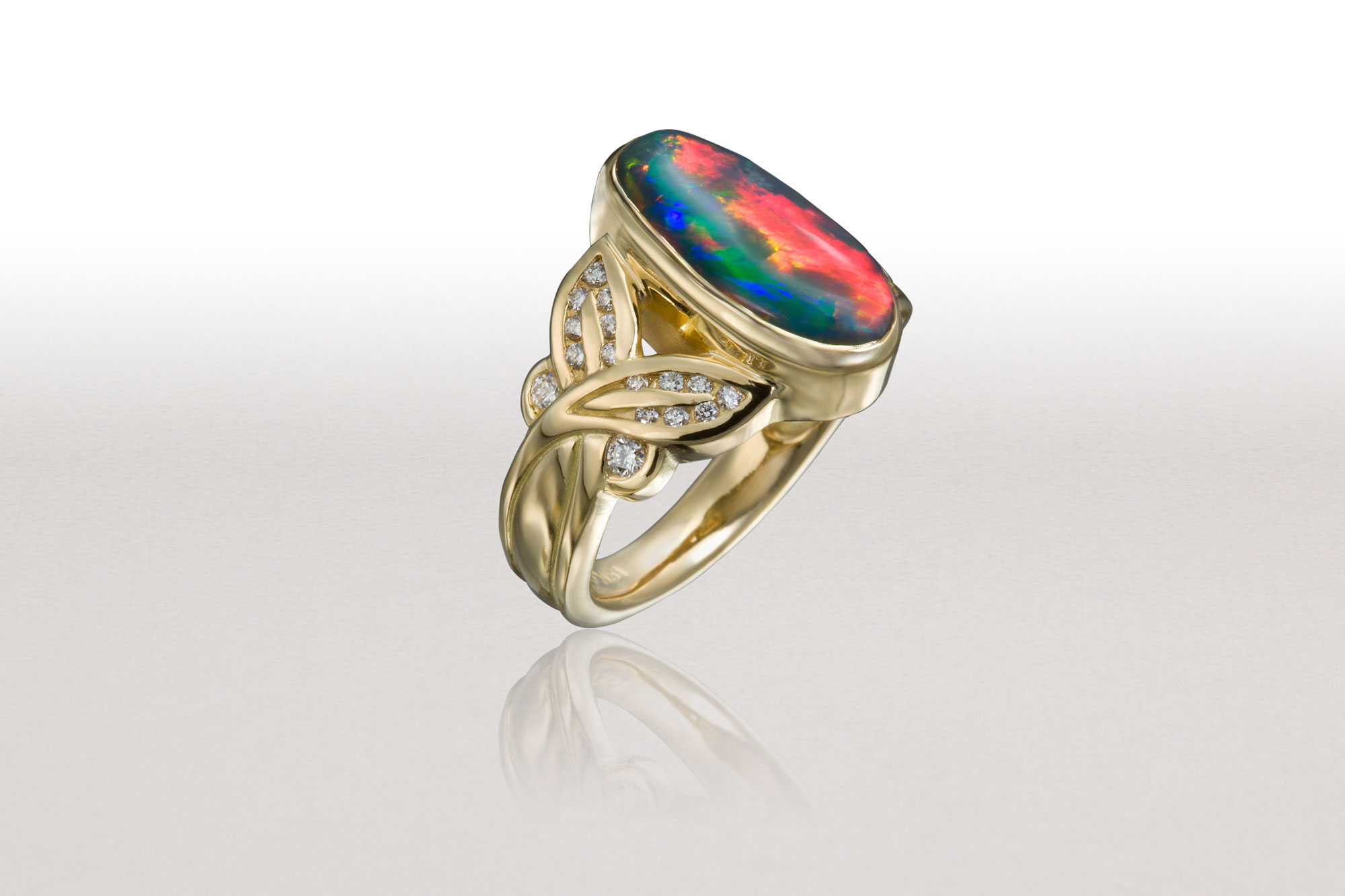 Small CROSSED LEAF Ring with Black Opal & Diamonds