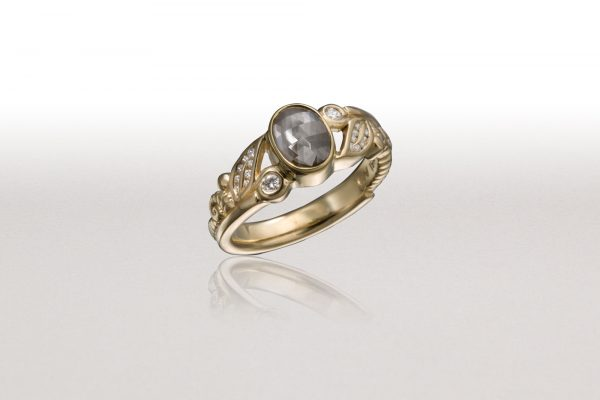 Small LEAF & FERN Ring with Grey Diamond