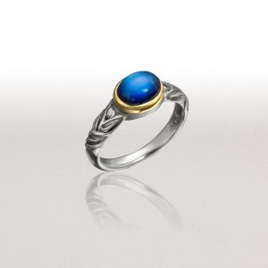 Thin ALTERNATING LEAF Ring with Moonstone & Diamonds