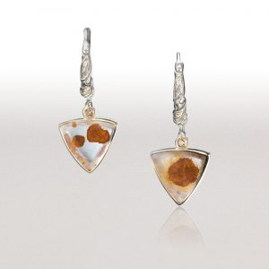 Triangle Drop Earrings with Rock Crystal & Cognac Diamonds