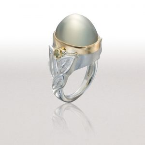 Large ALTERNATING LEAF Ring with Sage Moonstone & Grossular Garnets