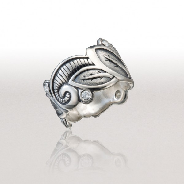 Wide LEAF Band in Platinum-enhanced Sterling & Diamonds