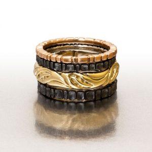 Platinum sterling & 18k gold stacking rings